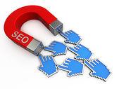Seo magnet přitahuje kurzory — Stock fotografie