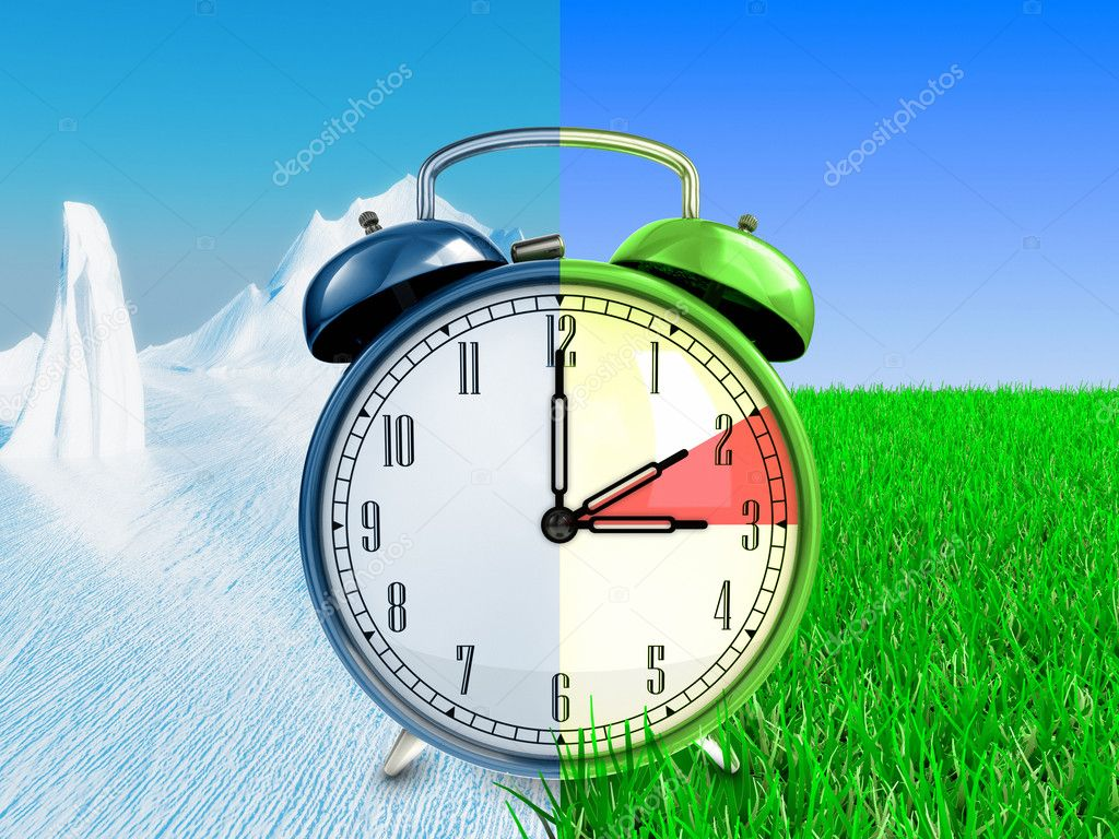 Retro alarm clock on winter and summer backgrounds.  Foto Stock #6942846