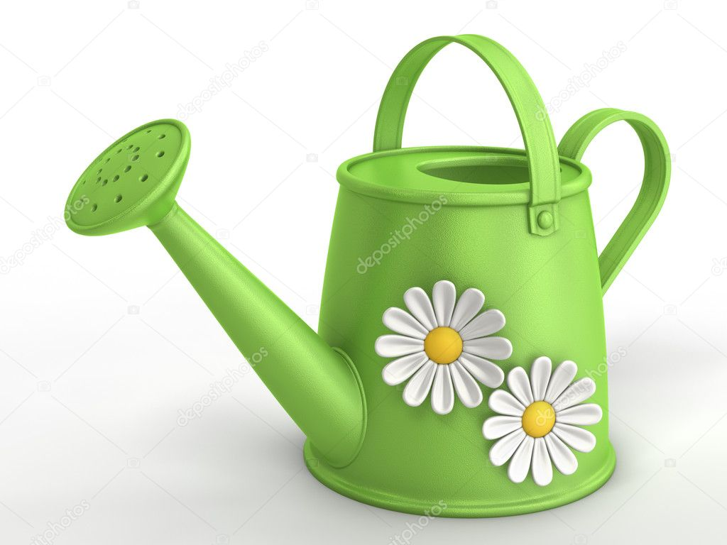 3D green watering can with camomiles. — Stock Photo #6943771