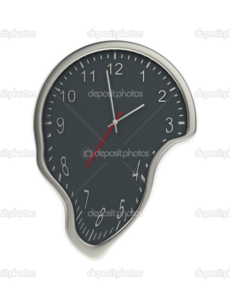 Melting of office clock isolated on white.  Stock Photo #6944216