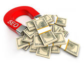 Seo trekt geld — Stockfoto