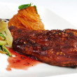 Stock Photo: Ribs with Vegetables and Mashed Sweet Potatoes