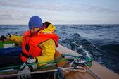 Frau segelndrei pomeranian welpen — Stockfoto