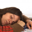Very Tired Young Caucasian Woman Writing — Stock Photo