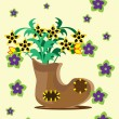 Bunch of flowers in a boot - Stock Vector