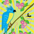 Royalty-Free Stock Vector Image: Tropical ridiculous parrot and floral background