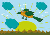 Cartoon bird on mountains background — Stock Vector
