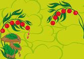Abstrait avec les champignons, les baies et les verts — Vecteur