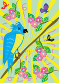 Tropical ridiculous parrot and floral background — Stock Vector