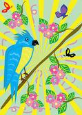 Tropische belachelijk parrot en floral achtergrond — Stockvector
