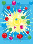 Słońce, niebo i balony — Wektor stockowy