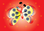 Cartoon butterfly on isolated background — Stock Vector