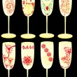Set of celebratory glasses with patterns — Image vectorielle
