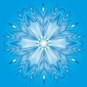 Vektor schneeflocke auf blauem hintergrund — Stockvektor