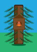 Bird in house on tree — Stock Vector