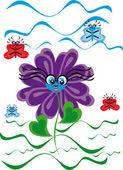 Cartoon flower on isolated background — Stok Vektör