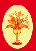 Gold cup of fire. — Vector de stock