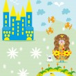 Royalty-Free Stock Vector Image: The small girl princess walks about the castle