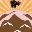 Stock Vector: The eagle flies over mountains in sun beams