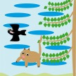 The cat falls from a tree — Stock Vector
