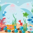 Abstract underwater background with small fishes — Vector de stock