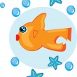 Stock Vector: Cartoon fish on isolated background