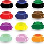 Set multi-colored box for cosmetics — Stock Vector