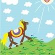 Royalty-Free Stock Imagen vectorial: The horse walks on a green grass