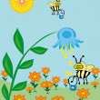 The bee collects nectar — Stock Vector