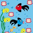 Abstract underwater background with small fishes — Stok Vektör