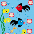 Abstract underwater background with small fishes — Stock Vector #7077214