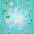 ストックベクタ: Abstract blue background with flowers
