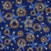 ночное небо с яркими звездами и абстрактные цветы — Cтоковый вектор