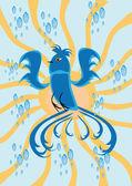 Cartoon bird on isolated background — Stock Vector