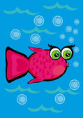Cartoon fish on isolated background — Stock Vector