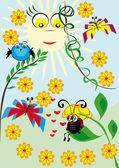 Cartoon animal under bright sun — Stock Vector