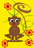 Small animation monkey on the isolated background — Stock Vector