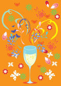 Láska, sklo, víno a butiful pozadí — Stock vektor