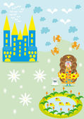 The small girl princess walks about the castle — Stock Vector