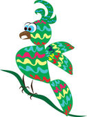 Tropical perroquet ridicule sur le fond isolé — Vecteur