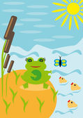 Frog under the sun on a pond — Stockvector