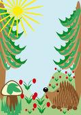 Hedgehog on a wood glade. illustration — Stock Vector