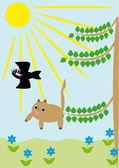 Katten faller från ett träd — Stockvektor