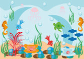 Abstract underwater background with small fishes — Stock Vector