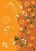 Cadre avec des papillons et fleurs — Vecteur