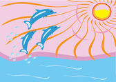 Dawn on the sea and dolphins — Stock Vector