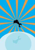 海、太陽とイルカ — ストックベクタ