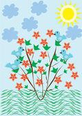 абстрактный фон с деревьев и цветов — Cтоковый вектор