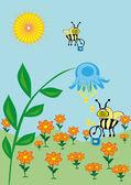 Včela sbírá nektar — Stock vektor