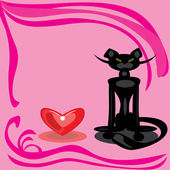 Black cat and heart on a pink background. — Vector de stock